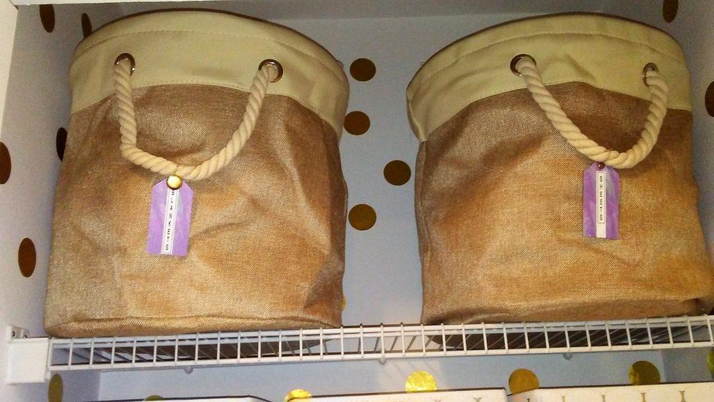 Home Basics NEW Round Storage Basket Rope Handle Bin Brown