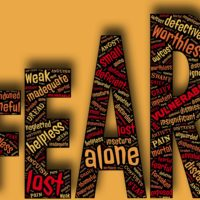 Word Fear Spelled Out with synonyms of anxiety