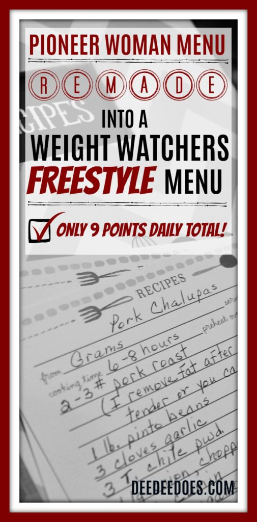 Pioneer Woman menu remade Weight Watchers Freestyle Menu 9 points