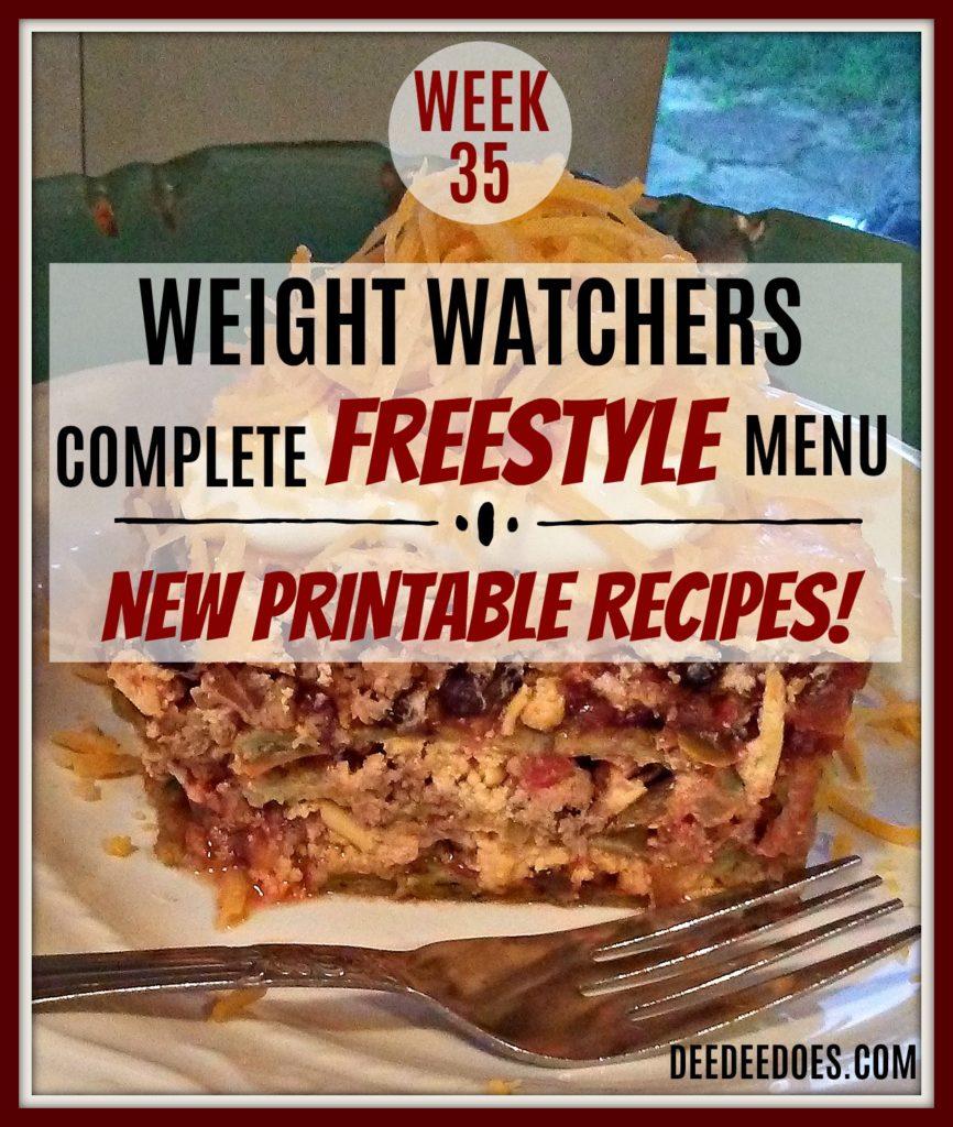 Week 35 Weight Watchers Freestyle Diet Plan Menu Week 9/7/18