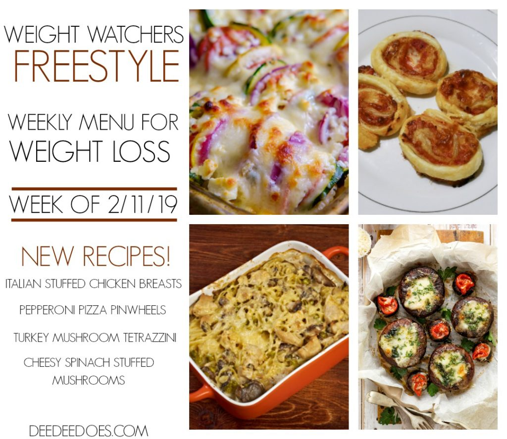 Weight Watchers Freestyle Weekly Meal Plan for Weight Loss Week 2/11/19