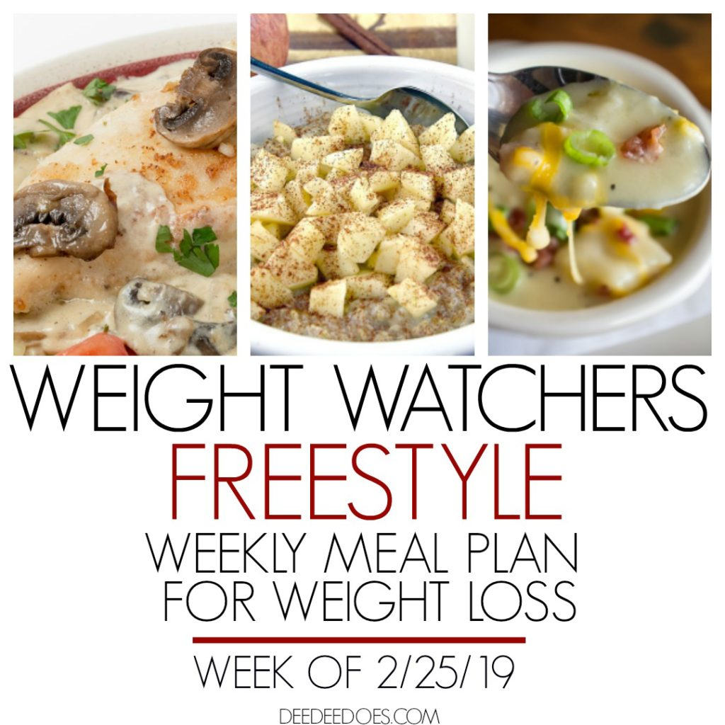 Weight Watchers Freestyle Weekly Meal Plan Weight Loss Week 2/25/19