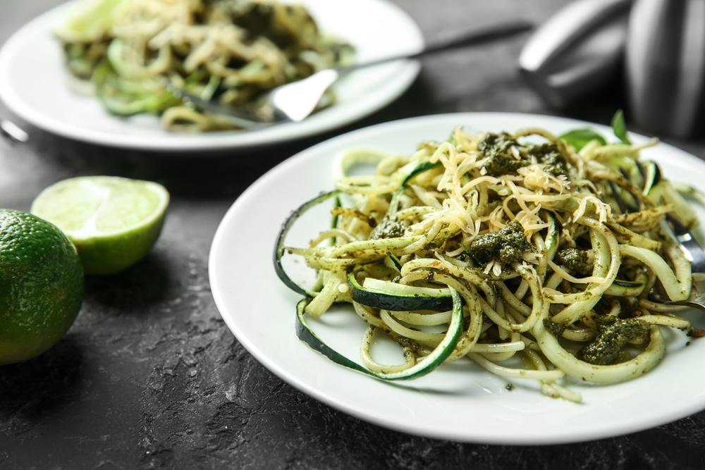Keto Zucchini Zoodles Drenched Arugula Lime Pesto Recipe