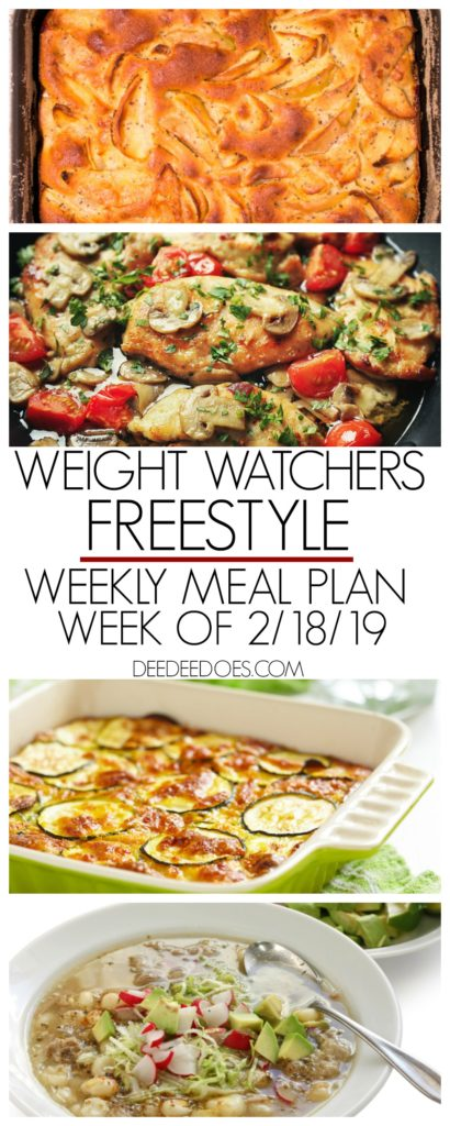 Weight Watchers Freestyle Weekly Meal Plan Weight Loss Week 2/18/19