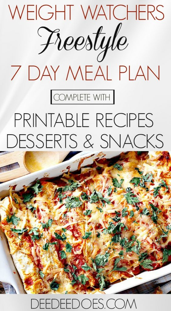 Complete Weight Watchers Freestyle Weekly Meal Plan