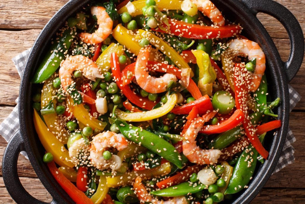 Sauteed Sesame Shrimp and Vegetables