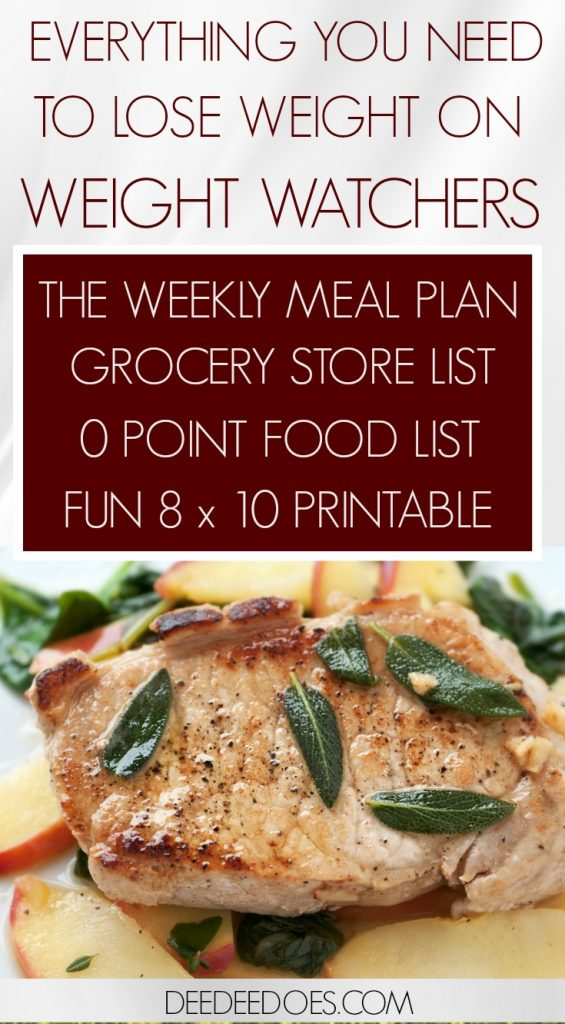 Handy Printable Weight Watchers Freestyle Weekly Meal Plan