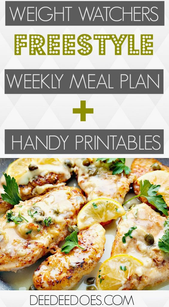 Weight Watchers Freestyle Weekly Meal Plan + Handy Printables