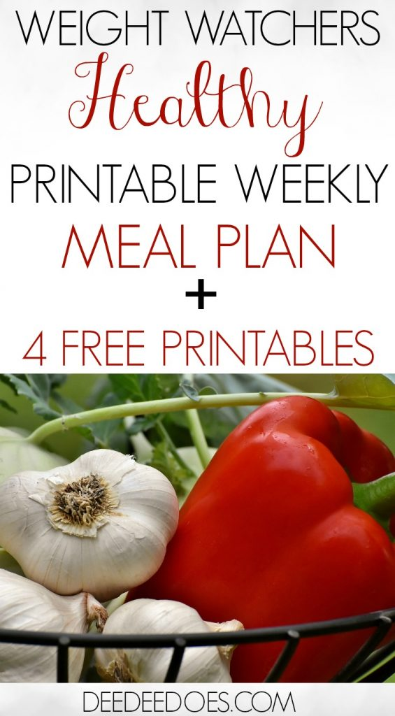 Printable Weight Watchers Freestyle Weekly Meal Plan with Grocery List