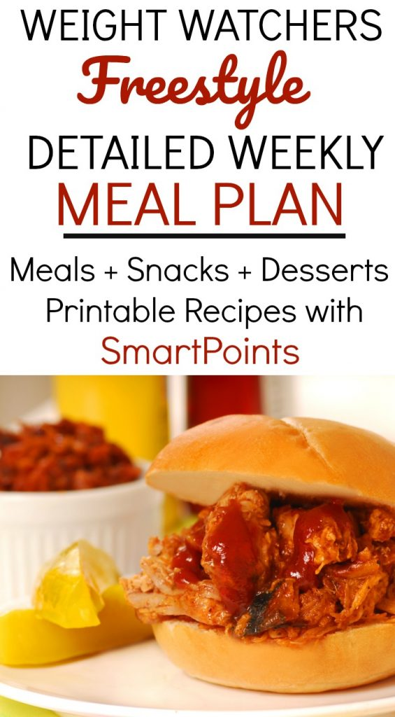 Weight Watchers Freestyle Weekly Meal Plan Week 10/21/19