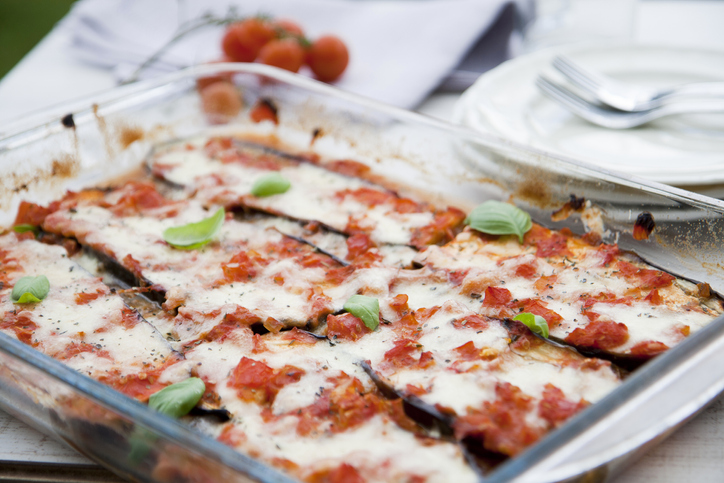 Healthy Eggplant Lasagna Recipe in a glass baking dish on a set tablescape