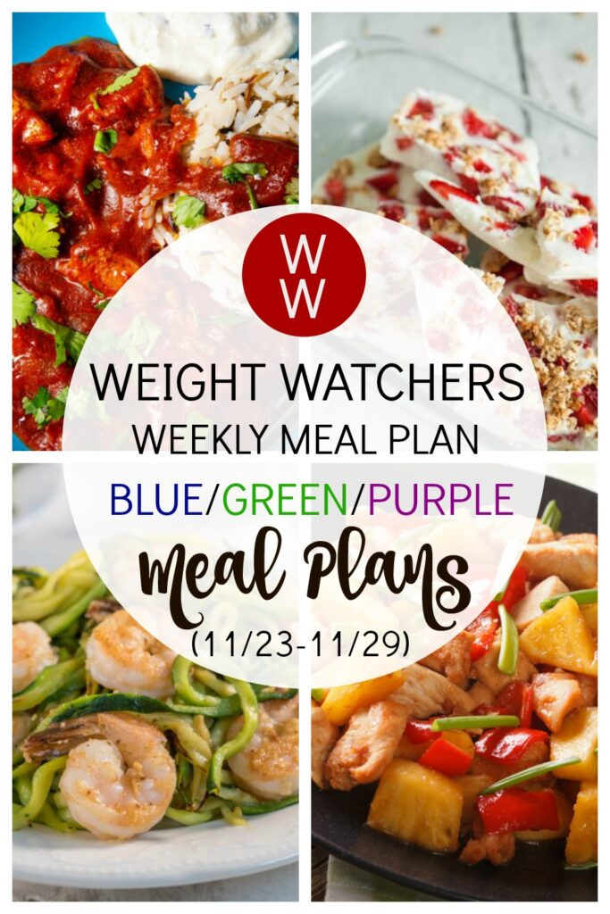 PICTURE OF PINTEREST PIN FOR Weight Watchers Recipes + Healthy Meal Plan (11/23-11/29)