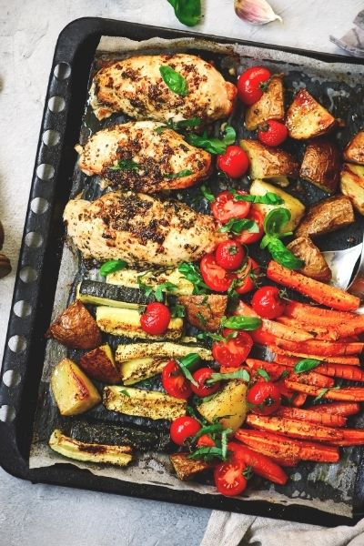 Sheet Pan Roasted Chicken & Vegetables Dinner