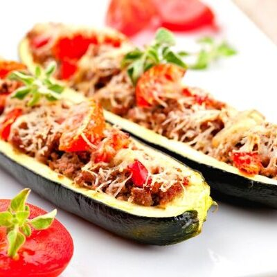 Picture of 2 Healthy Italian Stuffed Zucchini Halves made for Weight Watchers from deedeedoes.com