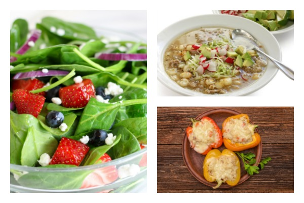 picture of weight watchers recipe for italian cheeseburger cups on a plate, spinach strawberry salad in a bowl, chicken posole in a bowl