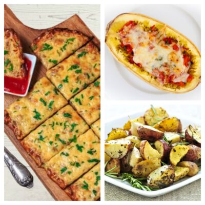 picture of cauliflower cheese breadsticks, stuffed spaghetti squash and instant pot crispy rosemary red potatoes weight watchers recipes from deedeedoes.com