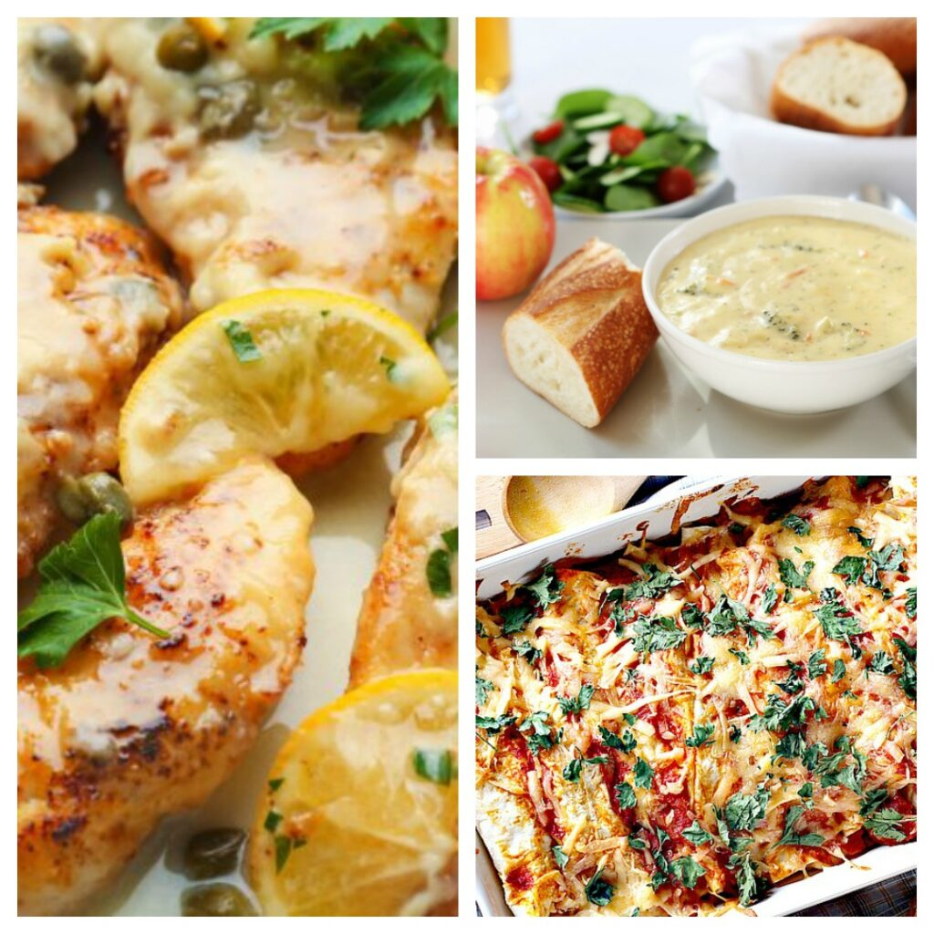 picture of deedeedoes.com weight watchers recipes of chicken piccata, skinny enchiladas and copycat panera bread broccoli cheese soup