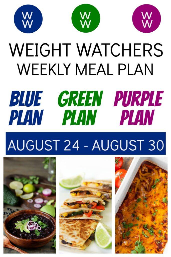 pinterest pin for weight watchers meal plan week 8/24