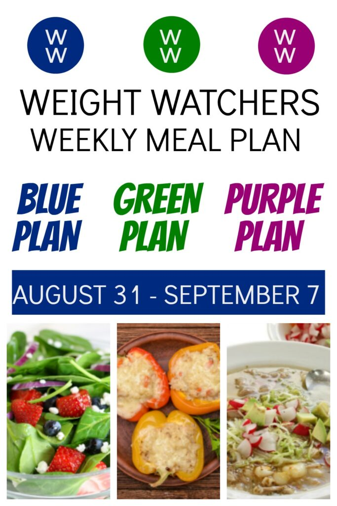 pinterest pin of deedeedoes.com weight watchers weekly meal plan for the week of 8/31