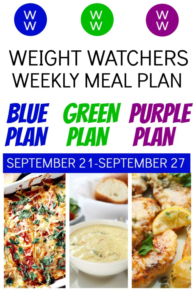 pinterest pin of deedeedoes weekly meal plan featuring skinny enchiladas, copycat panera bread cheddar broccoli soup and chicken piccata