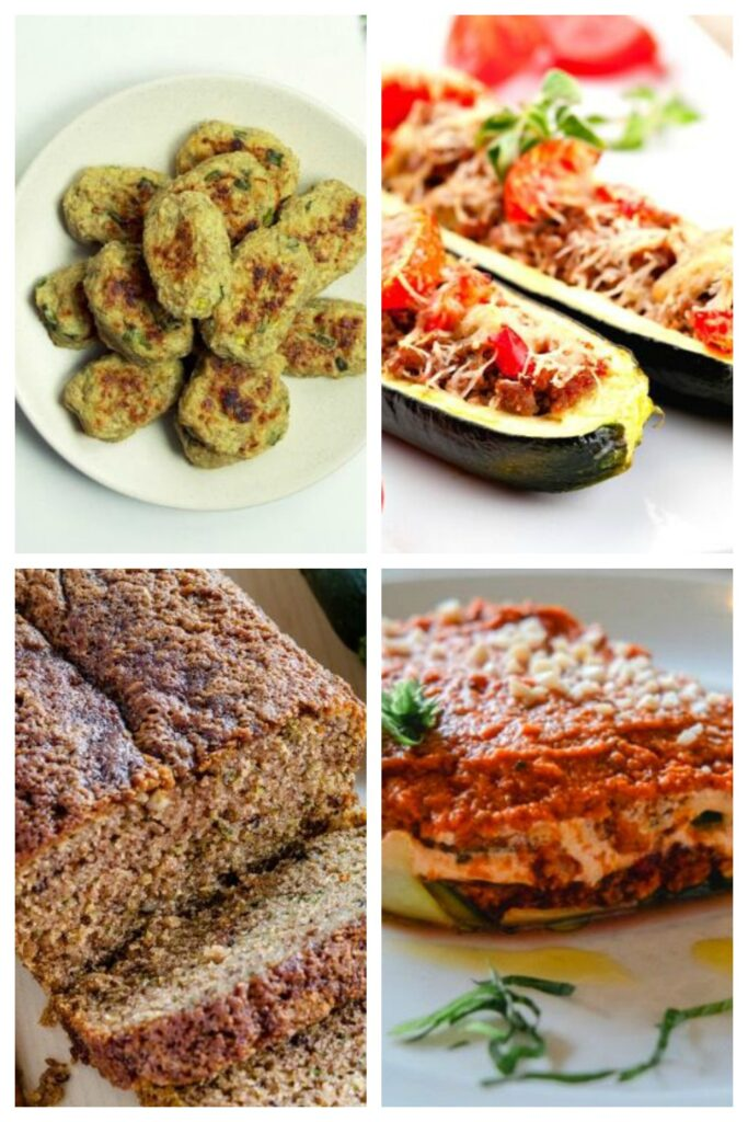 Collage picture of easy healthy zucchini recipes from deedeedoes.com