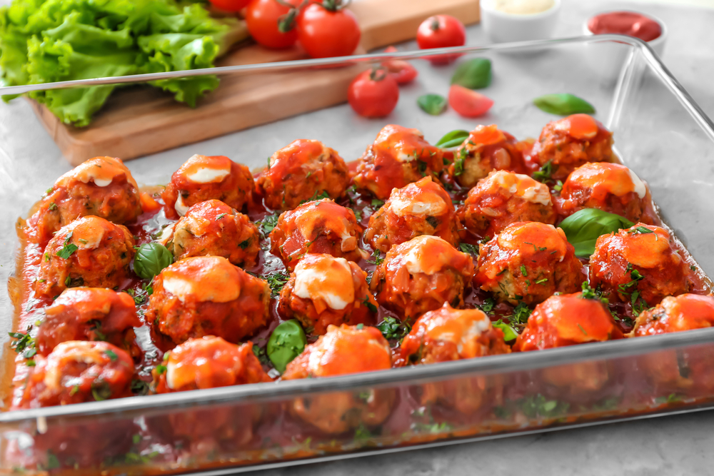 Turkey Meatballs with Sauce in a Glass Baking Dish