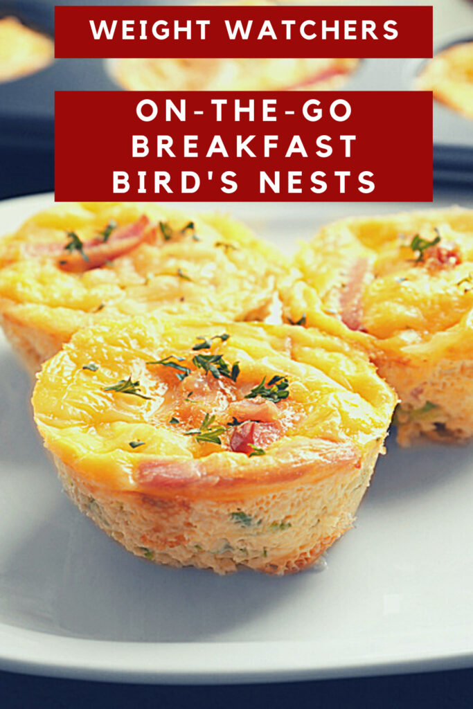 Healthy Weight Watchers Breakfast Bird's Nests on White Plate