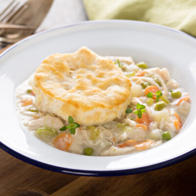 Plate of Chicken Pot Pie with Biscuits + Weight Watchers Recipe