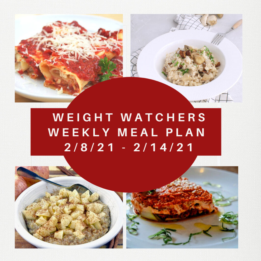 Weight Watchers Weekly Meal Plan for Weight Loss 2/8-2/14