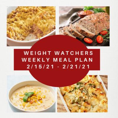 Weight Watchers Weekly Meal Plan Week of 2/15-2/21
