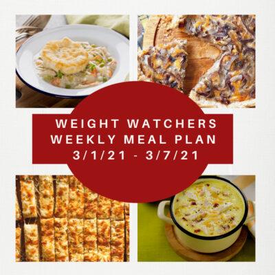 Weight Watchers Weekly Meal Plan Week of 3/1-3/7