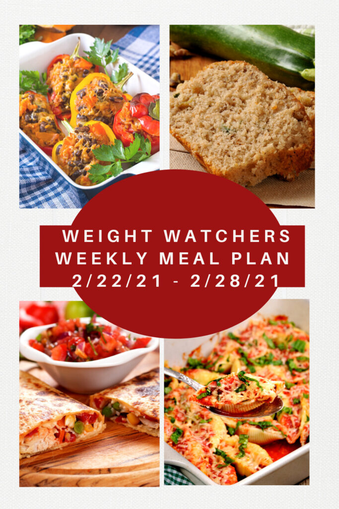 Weight Watchers Weekly Meal Plan Week of 2/22-2/28 showing 4 meals on the menu