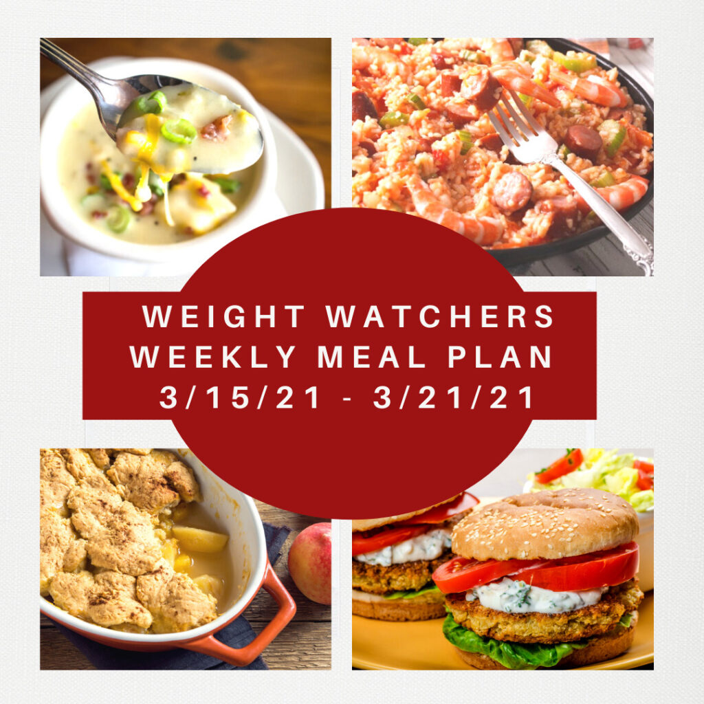 Weight Watchers Weekly Meal Plan Week of 3/15-3/21