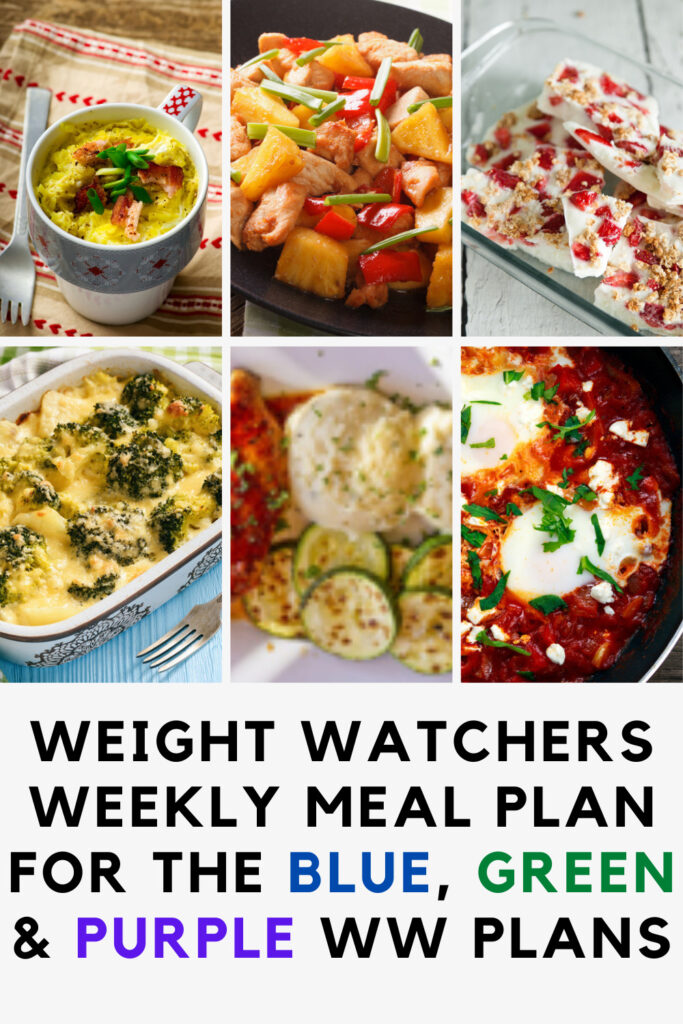 Weight Watchers Weekly Meal Plan Week of 4/5-4/11