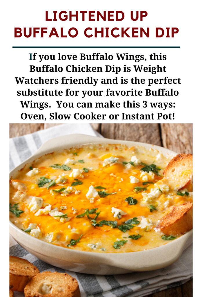 Weight Watchers Buffalo Chicken Dip Recipe baked in a dish with toasted bread slices