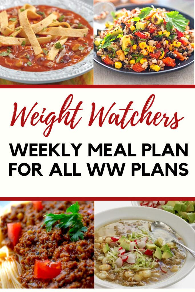 Weight Watchers Weekly Meal Plan Week of 4/12-4/18