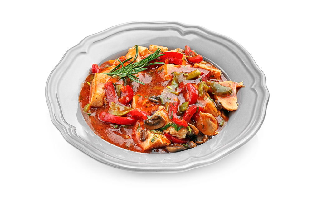 Quick Stove Top Chicken cacciatore on white plate for Weight Watchers