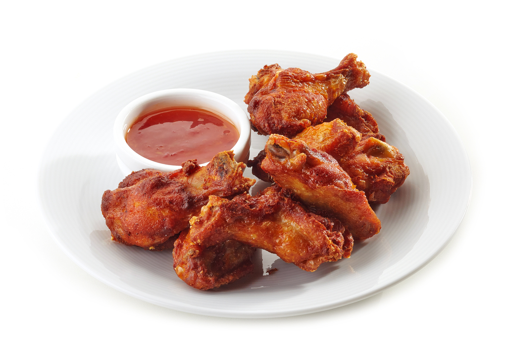 Air Fryer Peachy Rum Wings on White Plate with Dipping Sauce - Healthy Appetizer/Snack