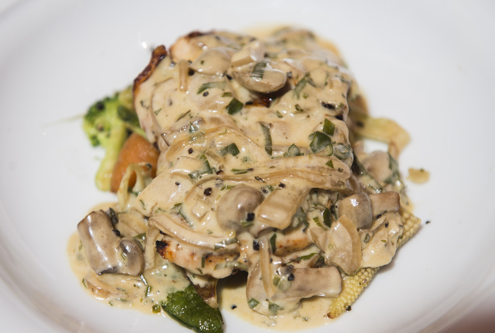 Healthy Chicken Breasts in Creamy Mushroom Sauce on white dinner plate