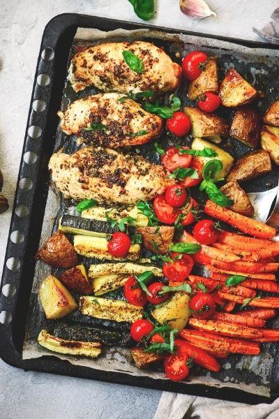 Easy Sheet Pan Roasted Chicken & Vegetables Dinner made using boneless chicken cutlets/breasts